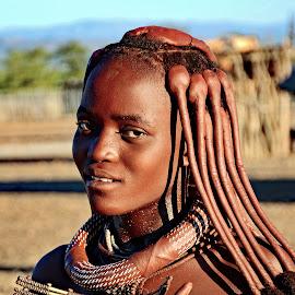 Young Himba Tribal Girl  by Doug Hilson - People Portraits of Women