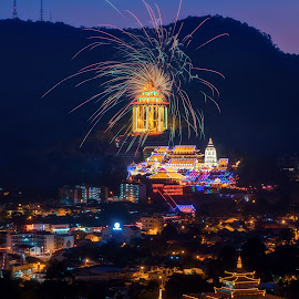 Kek Lok Si Temple by Ah Wei (Lung Wei) - Abstract Fire & Fireworks ( nikon af-s 24-70mm f/2.8 g ed, kek lok si temple, firework, night scene, george town, blue hour, miao xiang lin temple, malaysia, penang island, miao xiang lin, frontground, landscape, temple, george town penang, ah wei (lung wei), nikon d750, 24-70mm f2.8, pulau pinang, penang, nikon, nikon 24-70mm f2.8g, kek lok si )