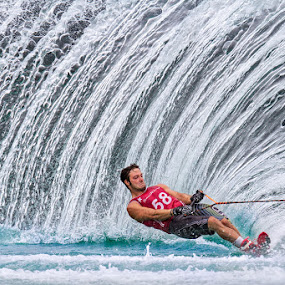 Matteo Luzzeri by Henrik Spranz - Sports & Fitness Watersports ( ski, water ski, water, spray, slalom, action, wall )