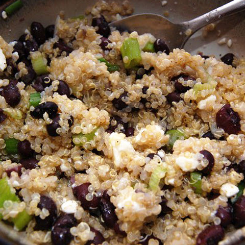 Lime Quinoa with Black Beans, Scallions and Feta