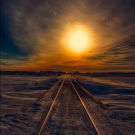 Winter Tracks by Jerry Kambeitz - Transportation Railway Tracks ( winter, sunset, snow, prairies, tracks )