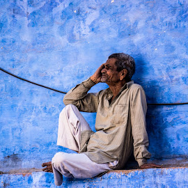 Just Thoughts by Chris Brown - People Street & Candids ( thoughts, thinking, blue, rajasthan, paint, thoughtful, blue city, india, man, wall, jodhpur )