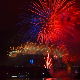 In Two Colors  by Kamila Romanowska - Abstract Fire & Fireworks ( new year, australia, nye, fireworks, celebration, sydney )