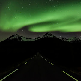 The road to the Northern Lights! by Jens Andre Mehammer Birkeland - Landscapes Mountains & Hills ( mountains, mountain, sky, nature, aurora borealis, aurora, night, road, landscape, norway )