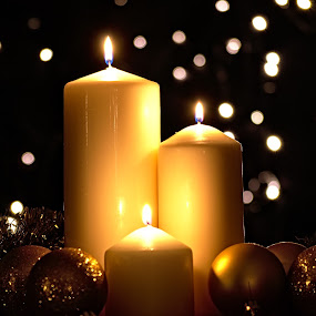 Candle Montage by Dunstan Vavasour - Public Holidays Christmas ( advent, candle, xmas, tindel, candles, christmas, baubles, pillar candles, decorations, bokeh,  )