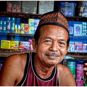 The Old Man with Cigarette by Teguh Gogo - People Portraits of Men