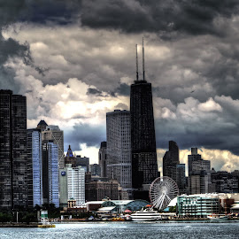 Navy Pier by Fraya Replinger - City,  Street & Park  Skylines ( clouds, chicago skyline, navy pier, cloudscape, cloudy, chicago )