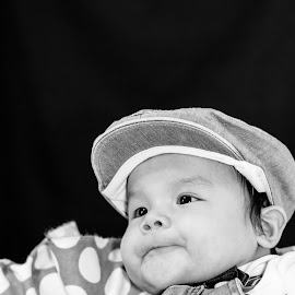 Little Overalls by Mikahla Dorey - Babies & Children Babies ( black and white, baby, portraits, overalls, hat )