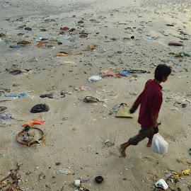Dirty Beach by Ubaidillah Elmuddin - City,  Street & Park  Street Scenes ( trash, dirty, beach, daily, people )
