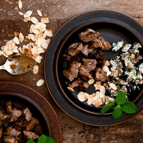 Charred Lamb and Eggplant With Date-Yogurt Chutney