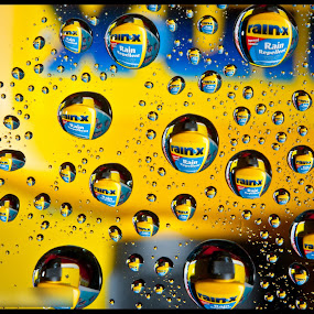 by Kev Bates - Abstract Water Drops & Splashes ( water, abstract, rainx, droplet, drops, yellow )
