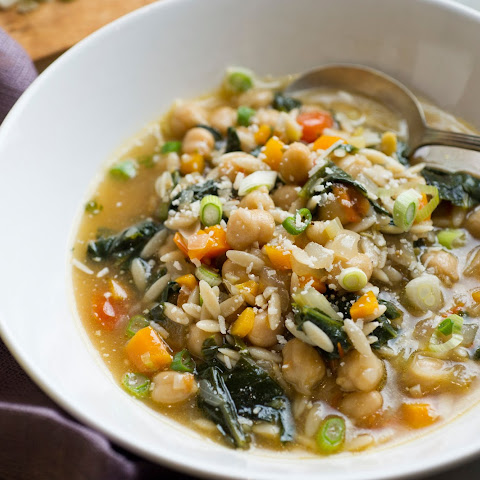 Chickpea Stew With Orzo and Mustard Greens