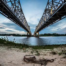 Bridges to Natchez by Michael Chapman - Buildings & Architecture Bridges & Suspended Structures ( mississippi river, natchez, bridges, michael chapman, mississippi )