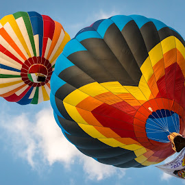 Hot air balloons in flight by Brian Butters - Transportation Other ( hot air, colors, maryland, balloons, preakness, evening, usa, balloonfest, ellicott city )