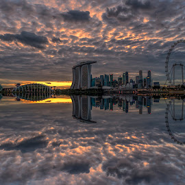 by Gordon Koh - City,  Street & Park  Skylines ( clouds, shenton way, skyline, twilight, riverfront, suntec city, cityscape, travel, singapore, city, skyscraper, financial district, sunset, asia, buildings, jubliee bridge, singapore flyer, waterfront )