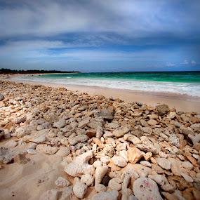 Rocks and beach by Cristobal Garciaferro Rubio - Landscapes Beaches ( water, cancun, shore, san, mexico, sea caribbean sea, rocks )