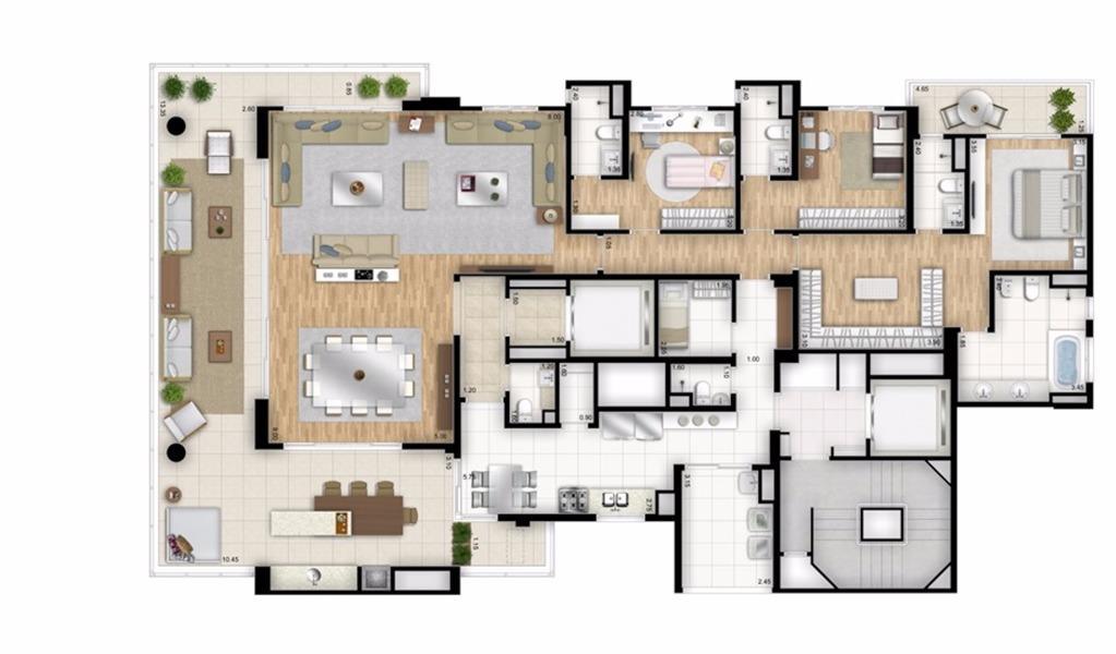 Planta Opção - 3 suítes - 288 m²  - Torre Nero