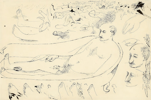 Here the British artist <b>Richard Hamilton</b> brainstorms ideas in response to a passage in James Joyce's <i>Ulysses</i> (1922). The passage in question imagines Leopold Bloom relaxing in a warm bath, his genitals a <i>'languid floating flower'</i>.