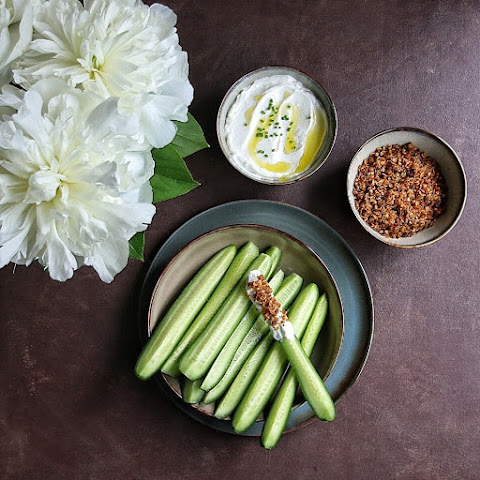 Mini Cucumber with Greek Yogurt & Savory Granola