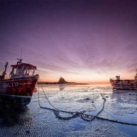 Lindisfarne Magic by Ian Pinn - Transportation Boats ( castle, northumberland, holy island, boats, low tide, lindisfarne )