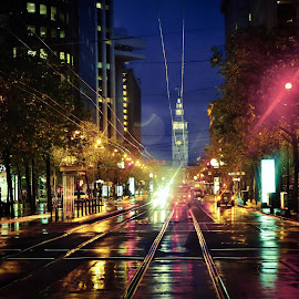 San Francisco streets by Arif Sarıyıldız - City,  Street & Park  Street Scenes ( lights, san francisco streets, night, usa, rain )