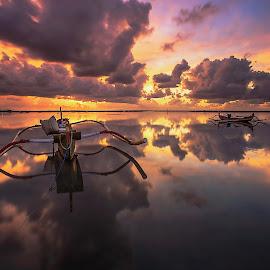 Morning of Love  by Bertoni Siswanto - Transportation Boats ( cloud formations, boats, reflections, sunrise, transportation, landscape )