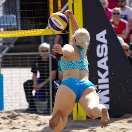Beach volley by Simo Järvinen - Sports & Fitness Other Sports ( sand, ball, volleyball, woman, beach volley, outdoor, sports, summer, spectators )