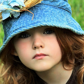 Peeking From The Brim by Cheryl Korotky - Babies & Children Child Portraits