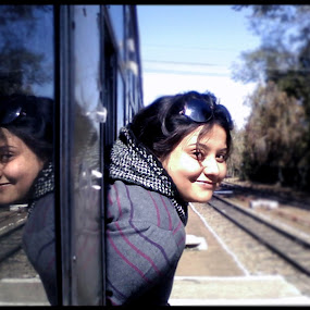 Reflection by Arpit Saha - People Portraits of Women ( reflection, joy, smiling face, portraits, women )