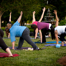 Yoga Class in the Park by Myra Brizendine Wilson - Sports & Fitness Fitness ( fitness, exercise, yoga in the park, yoga, yoga class )