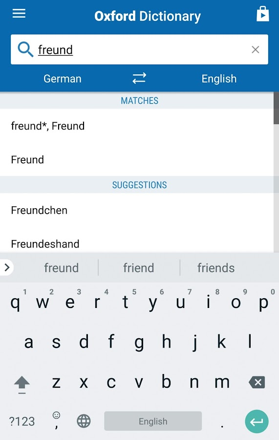 Oxford German Dictionary Screenshot 1