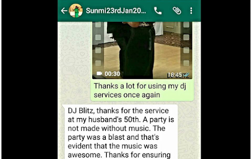 CUSTOMER'S FEEDBACK FROM A 50TH BIRTHDAY PARTY