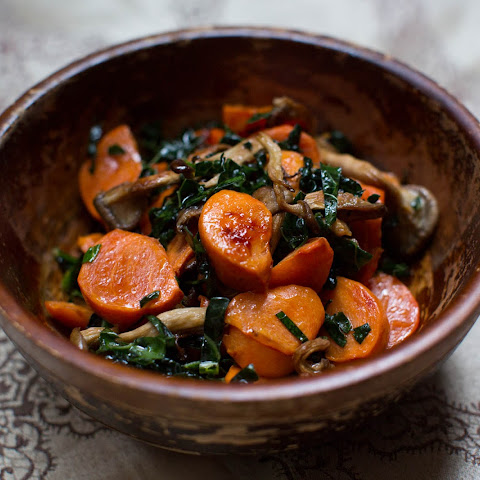 Roasted Persimmons with Mushrooms and Kale