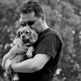 by Roz Elliott - People Portraits of Men ( love, closeness, black and white, happy, puppy, man )