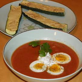 Gazpacho & Zucchini  by Sandy Stevens Krassinger - Food & Drink Plated Food ( gazpacho, food, roasted zucchini, plated food, soup, parsley, hard boiled eggs,  )