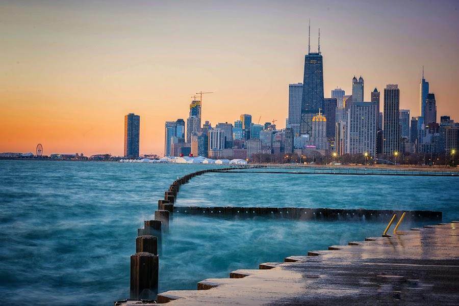 Chicago Sunrise by Amy Ann - City,  Street & Park  Skylines (  )