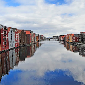 city by the river by Bente Agerup - Buildings & Architecture Public & Historical ( clouds, houses, buildings, city, river )