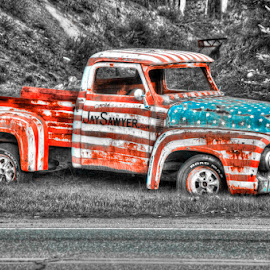All American Truck by Chris Cavallo - Transportation Automobiles ( selective color, america, black and white, truck, american flag, abandoned, decay,  )