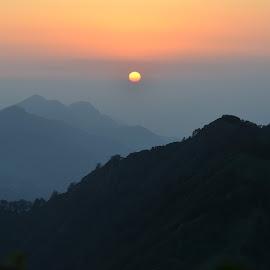 Sunset Viewed Atop Surkanda Devi Mountain, Uttarakhand, India by Praveen Kulshreshtha - Landscapes Weather ( himalayas, nature, sunset, hills, tranquility )