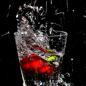 red bell splash by Angelo Jadulco - Food & Drink Fruits & Vegetables ( red bell pepper, water, glass )