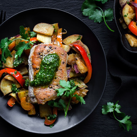 Roasted Pork Loin With Cilantro Pesto And Sweet-potato Hash