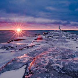Rising Sun by Edward Deiro - Landscapes Sunsets & Sunrises ( water, wisconsin, sky, lake michigan, lighthouse, sunrise, port washington, sun )