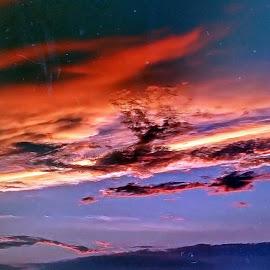 FIRE in the SKY by Zoritza  Wejnfalk - Landscapes Cloud Formations ( sky, zoritza, evening, fire, hawaii )