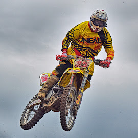 Noisy Bee by Marco Bertamé - Sports & Fitness Motorsports ( flying, motocross, speed, 35, air, number, yellow, race, noise, jump,  )