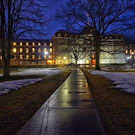 Vassar College in Rain by Carolyn Odell - Buildings & Architecture Public & Historical