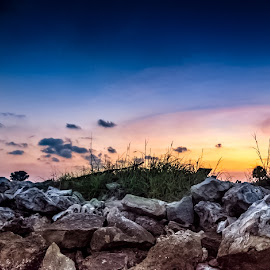 by Dusty Rayburn - Landscapes Travel ( sky, grass, sunset, rock, dusk )