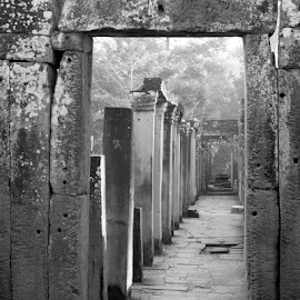 Corridor  by John Golden - Black & White Buildings & Architecture ( asia, ruins, travel, angkor wat, cambodia,  )