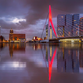 A cloudy start to the day by Rémon Lourier - City,  Street & Park  Skylines ( thenetherlands, orange, reflection, rotterdam, art, pixoto, cityscape, morning, citylights, city, lights, mirrored reflections, fineart, riverside, holland, buildings, cloudy, bridge, river )