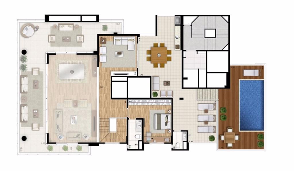 Cobertura Duplex Superior - 4 suítes - 448m² - Torre Bianco