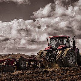Farming by Zareef Knight - Transportation Other ( amazing, cropland, dramatic, harvest, tractor )